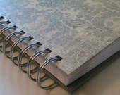 Address Book Includes Replacement Labels with Distress-look Blue & Green Damask Cover