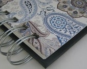 Cash Envelope System Wallet with Bold Black & Blue Paisley Cover