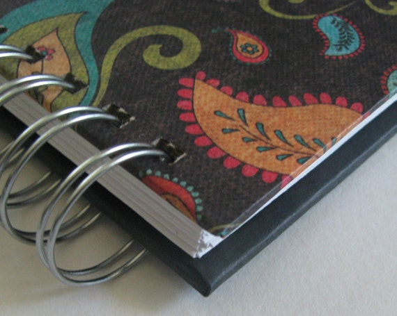 Cash Envelope System Wallet with Colorful Paisley, Black & Turquoise Floral Bird Cover