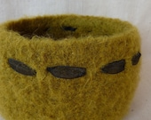 Felted Wool Stash Bowl with Ribbon Autumn Leaves by ColAreto