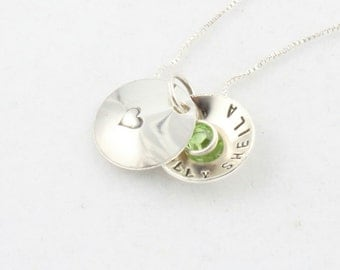 Personalized Child Locket Necklace - Custom Hand Stamped Sterling Silver Birthstone Necklace for Girl - Valentine's Day Gift