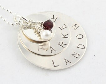 Christmas Gift - Personalized Custom Birthstone Necklace - Sterling Silver Gift for Mom