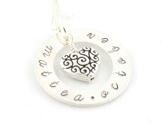 Christmas Gift - Personalized Sterling Silver Custom Heart Necklace - Hand Stamped Gift for Mom