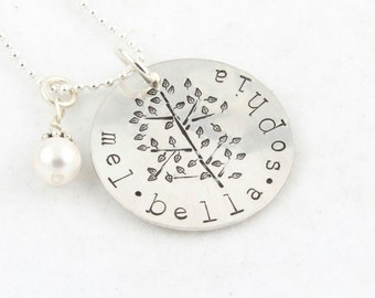 Mother's Day Gift - Family Tree of Life Necklace - Personalized Necklace - Custom Sterling Silver Hand Stamped Gift for Mom or Grandma