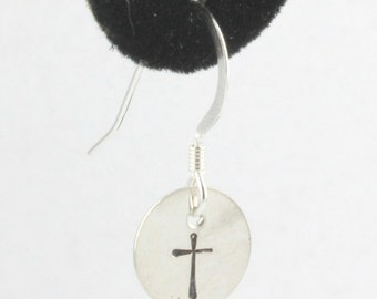 Christian Cross Simple Sterling Silver Earrings Dangle