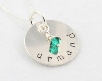 Sterling Silver Birthstone Necklace - Hand Stamped One Disc - Gift for Mom or Grandma - Mother's Day Gift