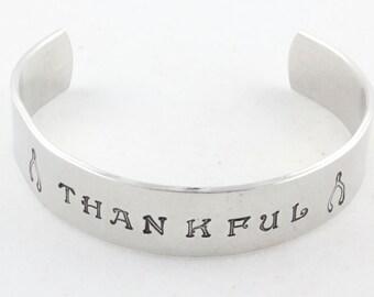 Thankful Cuff Bracelet - Wishbone Bracelet - Hand Stamped Cuff Bracelet - Thanksgiving Hostess Gift
