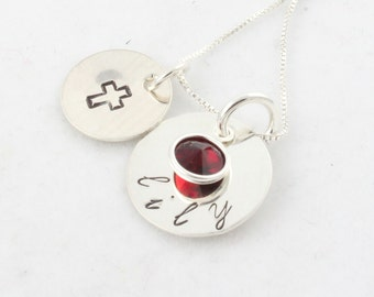 Personalized Cross Birthstone Necklace - Custom Hand Stamped Sterling Silver Necklace - First Communion Gift - Confirmation - Easter Present