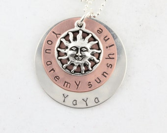 Mother's Day Gift - You Are My Sunshine Necklace - Custom Personalized Hand Stamped Sterling Silver Copper Gift for Mom