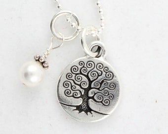 Tree of Life with Pearl - Sterling Silver Necklace - Mother's Day Gift