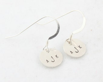 Earrings Monogram Personalized Silver Custom Initial Hand Stamped