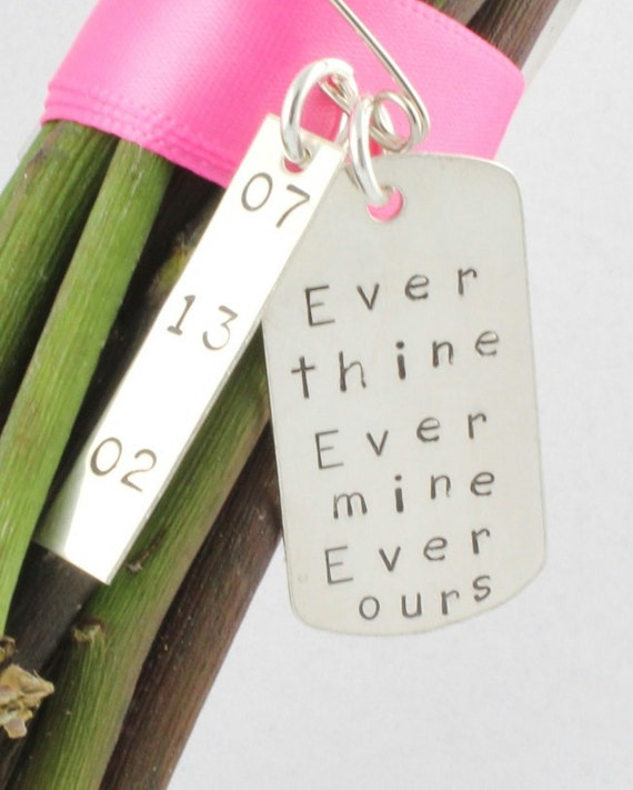 Wedding Bouquet Hang Tag - Sterling Silver Hand Stamped Wedding Gift for Bride - Christmas Gift