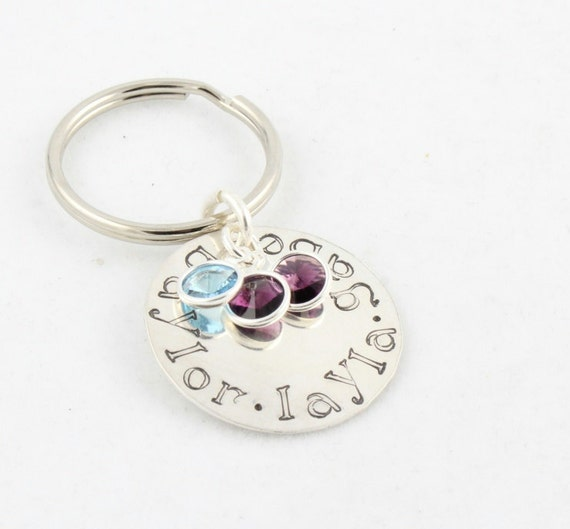 Christmas Gift - Sterling Silver Birthstone Keychain - Key Ring - Personalized Custom Hand Stamped Gift for Mom