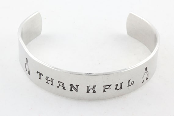 Thankful Cuff Bracelet - Wishbone Bracelet - Hand Stamped Cuff Bracelet - Thanksgiving Hostess Gift