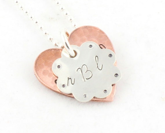 Girl Flower Necklace Personalized Copper Heart Sterling Silver Custom