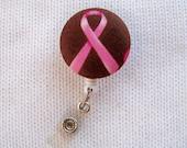 Breast Cancer Awareness Retractable ID Badge Reel