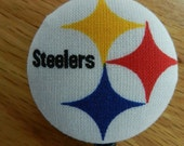 Retractable ID Badge Reel handmade with Pittsburg Steelers Fabric