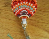 Badge Reel-Badge Holder-Retractable Reel ID Holder- Orange and turquoise Print Fabric