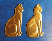 2 Large Cats in Stamped Brass.