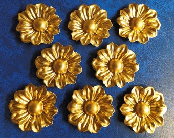 8 Pretty Brass Flowers in Stamped Metal.