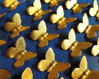 10 SMALL Butterflies in Stamped Brass.