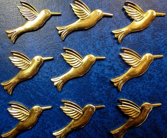 9 Small HUMMINGBIRDS in Stamped Brass.