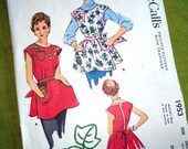 1950s Vintage Sewing Pattern - Cobbler Apron - Large Pockets - McCalls 1953 - Small