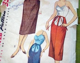 1950s Vintage Sewing Pattern - Simplicity 4004 - MATERNITY SKIRT - 28 Waist
