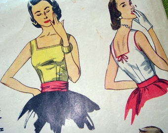 1950s Vintage Sewing Pattern - Simplicity 4350 - Tank Top BLOUSE - Sleeveless / Size 16 Bust 34