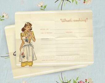 Vintage Apron RECIPE Cards - Retro Kitchen - Rockabilly - Set of 10