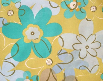 Michael Miller COTTON Fabric - Funky Flower - Olive / Large Print Floral Quilting Weight Fabric
