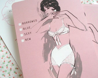 Lingerie Bridal Shower Invitation - 60s Vintage Fashion Illustration - Set of 15