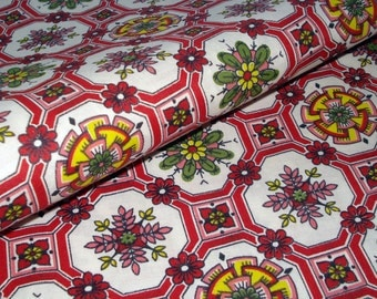 50s Vintage Cotton Red Floral Print - Fabulous Floral - Fifties Kitchen