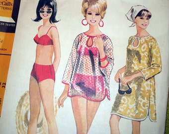 1960s Vintage Sewing Pattern - McCalls 8285 - Bathing Suit and Beach Cover-Up