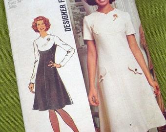 1972 Sewing Pattern - Simplicity 5344  - Mod A-Line DRESS /UNCUT / Size 12