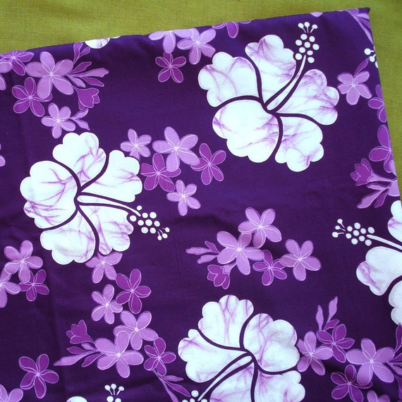 Vintage Hawaiian Fabric Purple Hibiscus Floral By Selvedgeshop