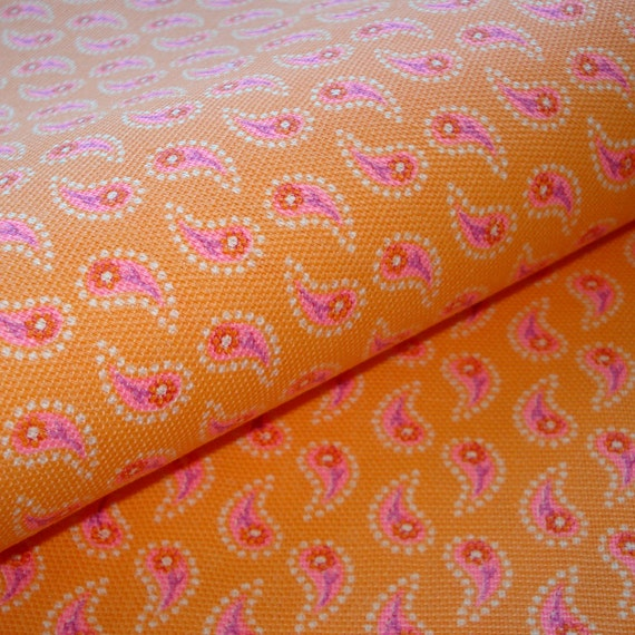 RESERVED - Vintage Cotton Fabric - Modern Paisley - Orange - Pink Flowers