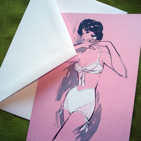 Vintage Lingerie Blank Notecards - '60s Fashion Illustration - Set of 8 - Ready to Ship