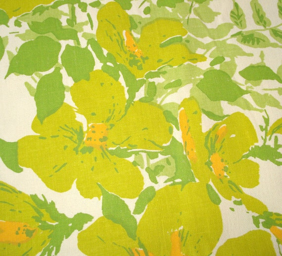 Beautiful Vintage Fabric - Spring FLORAL Screenprint - Bill Giardiello for LLOYD