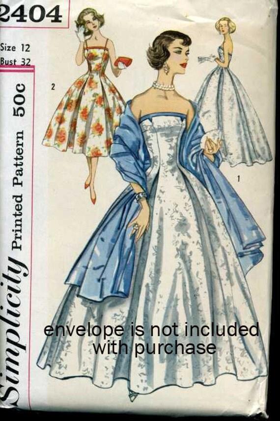 1950s Vintage Pattern - Evening Gown - Floor Length DRESS - Simplicity 2404 - Uncut FF