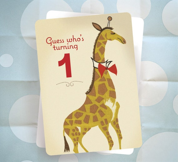 Baby's First Birthday Party Invitation - Giraffe - Vintage Barkcloth Design - Set of 10 - Ready to Ship