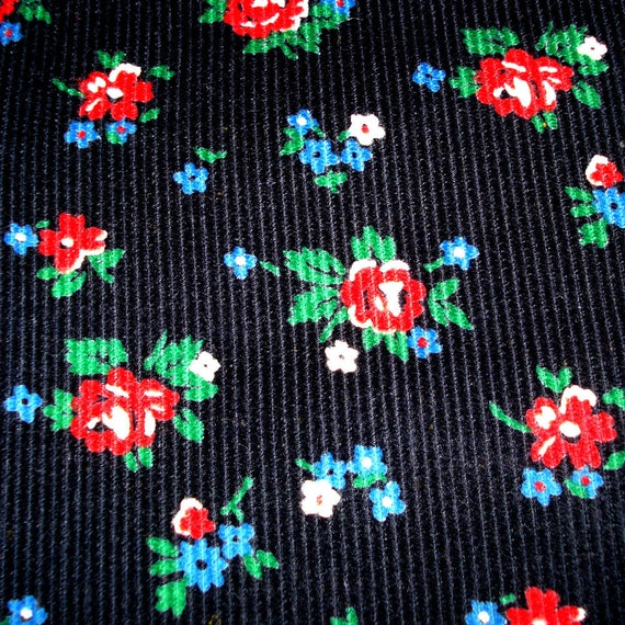 VIntage Corduroy Fabric - Small Floral Print