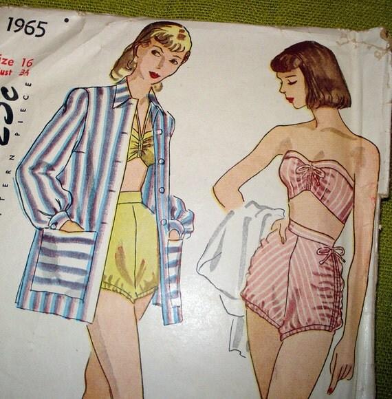 Late 1940s Vintage Sewing Pattern -  Bathing Suit - Swim Suit - Coat - Simplicity 1965