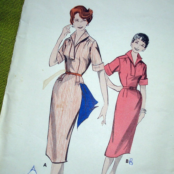 1950s Vintage Sewing Pattern - Spectator Dress with Scarf- Butterick 8455