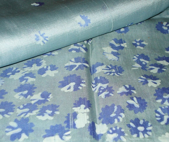 Vintage Silk Border print - Dusty Blue Silk - Lavender Flowers