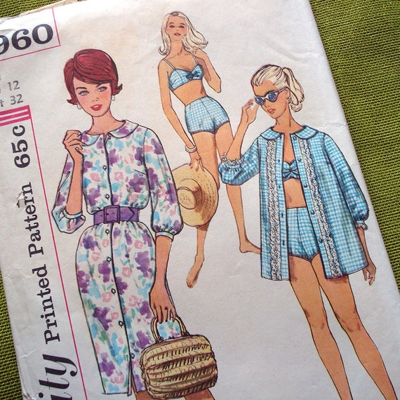 Early 1960s Vintage Sewing Pattern - SImplicity 3960 - BATHING SUIT Beach Shirt - Shirt Dress