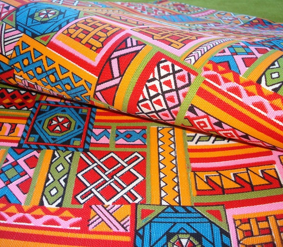 Vintage 60s Cotton Fabric - Bright Colors - Geometric Pattern - Red Orange Hot Pink