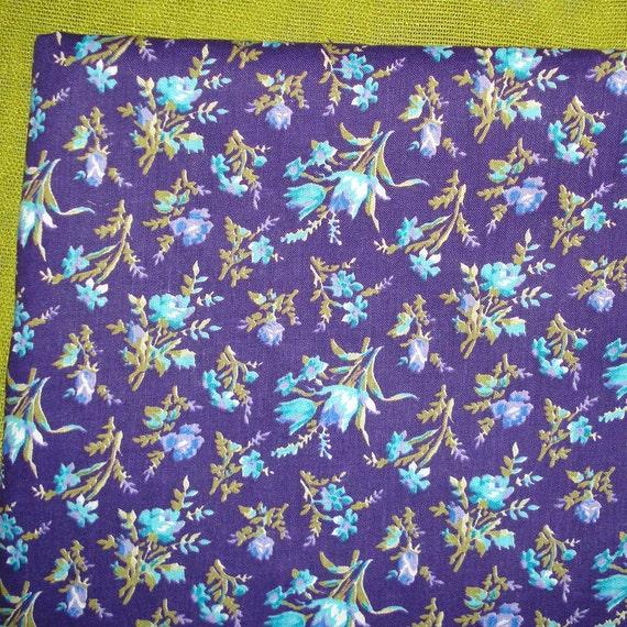 Vintage Floral Yardage - Wildflower Pattern - Light Blue Purple - Shabby Chic