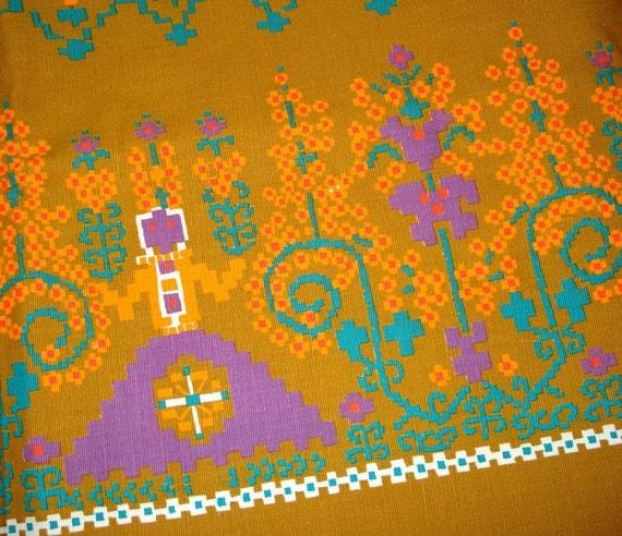Vintage Cotton Yardage - Ethnic Border Print - Pixelated Pattern - Yellow Ochre Teal Orange Lavender