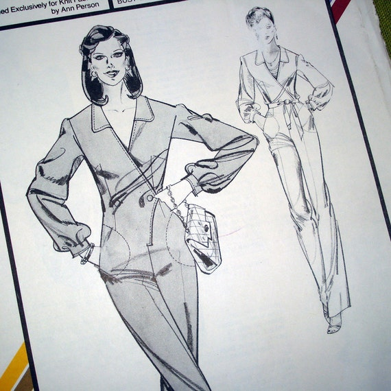 1980 Vintage Sewing Pattern - Asymmetrical Jumpsuit - Stretch & Sew 730